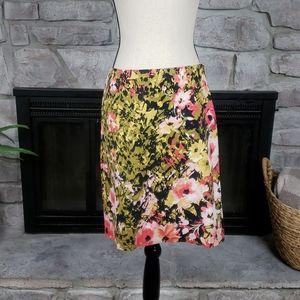 J. Jill Green Pink Floral Stretch Pencil Skirt 6